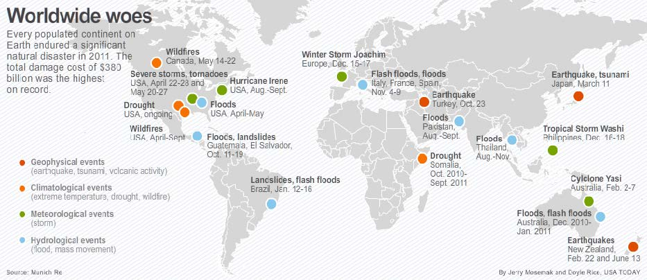 Worldwide woes Every populated continent endured a significant natural disaster in 2011