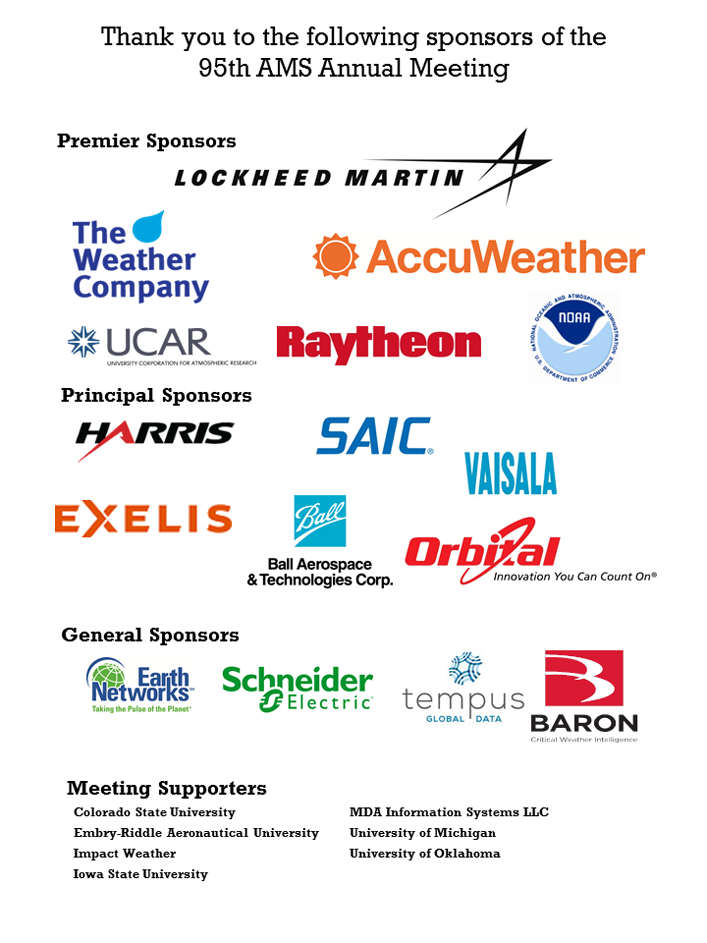 AMS thanks the sponsors of the 95th AMS Annual Meeting